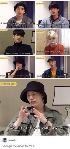 You have all the bangtan boys and then there's savage Yoongi. Bts Namjoon, Yoongi, Bts Bangtan Boy, Bts Boys, Jimin, Hoseok, K Pop, Jikook, Bts Memes Hilarious