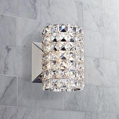 "$130  Vienna Full Spectrum Crystal Cylinder 6 1/2"" High Sconce"