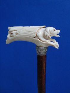 Ivory Carved Dog In Log Cane