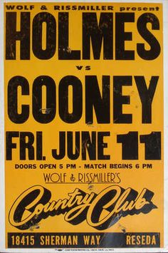 Weidman Gallery - Holmes Vs. Cooney. Boxing poster