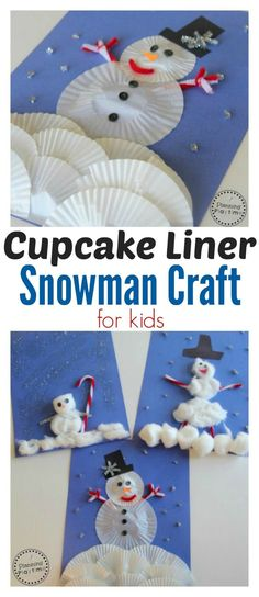 Cupcake Liner Snowman Craft for kids. So Fun! This Cupcake Liner Snowman Craft is a fun, winter scene for kids to create. Give them a tray with a few basic supplies to build their own snowman. Winter Crafts For Kids, Winter Kids, Art For Kids, Winter Activities For Kids, Preschool Winter, Kids Fun, Christmas Activities, Kids Christmas, Christmas Snowman