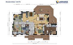 Modernitalo 164 PU Humble Abode, Floor Plans, Diagram, Layout, Building, House Ideas, Page Layout, Buildings, Construction