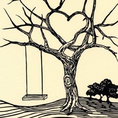 love the heart, needs lots of soft leaves, little girl on swing everything black and white silhouette