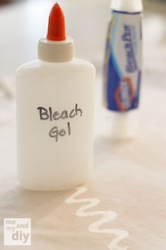 DIY Bleach Gel - ¾ cup water 3 Tbsp corn starch 4-7 Tbsp household bleach Mix water and corn starch together in a small pan. Bring to a boil, stirring continuously until mixture becomes translucent and pudding-like. Let cool Start adding bleach by the Tbsp, until you have the consistency and strength you desire.
