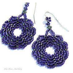 Purple Earrings Woven Seed Bead Earrings by IrisElmJewelry on Etsy
