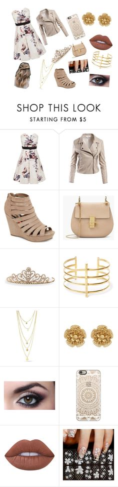 """""""Floral and tan"""" by natthebat500 ❤ liked on Polyvore featuring Little Mistress, Sans Souci, Madden Girl, BillyTheTree, BauXo, Miriam Haskell, Casetify and Lime Crime"""