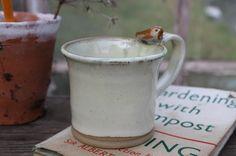 Bird Cup no.3 - vanilla coffee tea mug, wheel thrown, pottery, gift for gardener £18.00