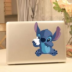 This is so cute! If I had a mac I would get this :) Stitch Vinyl Laptop Sticker $14.99 #Disney #LiloAndStitch #Products