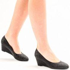 80e0c257f6d Tina Diamante Wedge Court Shoes Black Court Shoes