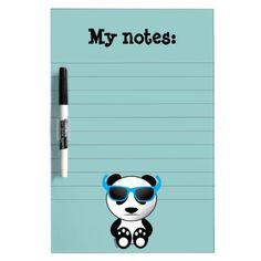 SOLD Cool and cute panda bear with Blue sunglasses Dry Erase Whiteboard by #PLdesign #CoolPanda #Panda #PandaGift #EraseBoard