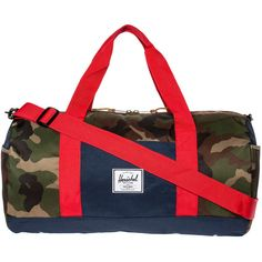 Herschel Supply Co. The Sutton Duffle Bag in Woodland Camo and Navy ($65) found on Polyvore