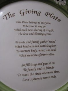 """I like this """"The Giving Plate"""" wording too, I think I'll blend the two poems. Christmas Things To Do, Christmas Gifts, Christmas Decorations, Homemade Gifts, Diy Gifts, Giving Plate, Do It Yourself Projects, Vinyl Crafts, Fun To Be One"""