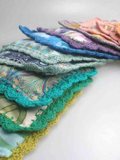 I just love what a simple but gorgeous project this is for using up fabric stash and yarn!
