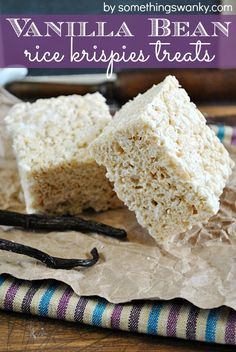 vanilla Bean Rice #Krispies Treats on www.somethingswanky.com Everything is better with vanilla bean!