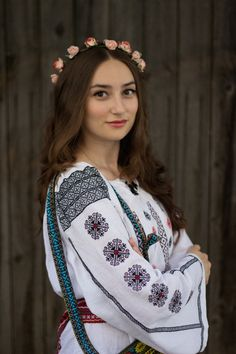 Discover this look wearing Handmade Blouses, Handmade Belts - The Romanian Blouse by SimonaMoon styled for Vintage, Everyday in the Spring Romanian People, Romanian Women, Romanian Flag, Folk Fashion, Ethnic Fashion, Womens Fashion, European Girls, Folk Costume, Costumes