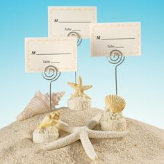 Seashell Motif Place Card Holder with Matching Place Card   #exclusivelyweddings   #beachwedding
