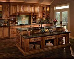 Gorgeous kitchen!! LOVE!!! This is the color I want my cabinets and the coutertop!!