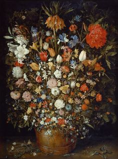"""Big Bouquet of Flowers in a Wooden Vessel Jan Breughel 1606-1607  The """"Flowers in a Wooden Vessel"""" - one of the most famous depictions of flowers ever created - is not a reflection of a real bouquet, resembling instead an encyclopaedic panorama of rare species. Art and scientific curiosity are combined in this highly meticulous, virtuosic reproduction of 130 different flowers."""