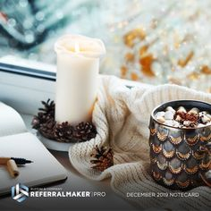 We have cozy, holiday vibes for our December notecard. See what else is included in our marketing materials kit, delivered monthly to our Referral Maker PRO members! Real Estate Coaching, Real Estate Business, Marketing Materials, Marketing Tools, Real Estate Leads, Marketing Professional, Lead Generation, Pillar Candles, Note Cards