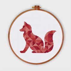 Geometric Fox minimalist cross stitch pattern by ThuHaDesign