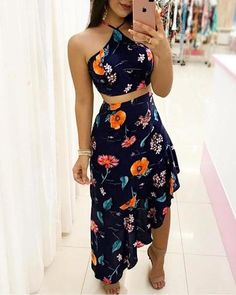 Shop sexy women's dresses, tops, and bottoms at Ellebabe. Floral Dress Outfits, Casual Dresses, Casual Outfits, Fashion Dresses, Cute Outfits, Summer Dresses, Classy Dress, Chiffon Dress, Dress Patterns