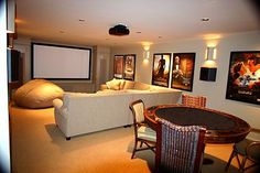 Home Theater room with screen and speakers - Cutting Edge Design, Inc.