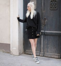 casual black, button-down-skirt, mango, american apparel, chucks, look, ootd, riga, fashion, blog, stryletz