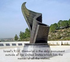 Twin Towers Memorial in Israel is made from wreckage of It stands 30 feet tall and is located 20 miles from the center of Jerusalem. It is the ONLY monument that bears the names of all who perished in the attacks including 5 Israeli citizens. Twin Towers Memorial, 911 Memorial, Jerusalem Israel, Holy Land, World Trade Center, Skyscraper, Places To Go, The Outsiders, Around The Worlds