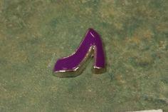 1 - Purple High Heel Shoe Charm - Silver Tone - 9MM - Floating Heart, Pendant, Locket, Memory Locket, Pendant, Heart - Jewelry - Charm by GailsGiftHut on Etsy