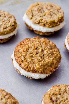 Copycat Little Debbie Oatmeal Cream Pies by sallysbakingaddiction.com. They even taste better than the originals! Recipe on sallysbakingaddiction.com