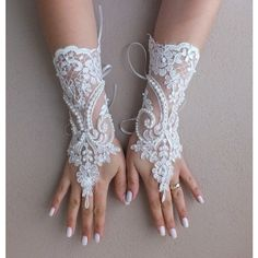 Wedding Gloves, ivory french lace gloves,Fingerless Gloves, ivory... ($35) ❤ liked on Polyvore