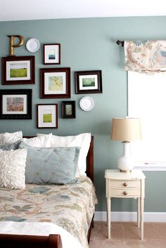Benjamin Moore Scenic Drive Blue Paint Color with patterned comforter