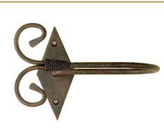 Alzapaño barra de cortina mod. lateral Roma, fabricado en forja de forma artesanal, se puede cambiar el color de la forja