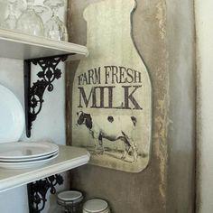 Farmhouse Kitchen Ideas:  Milk Bottle Sign, $60