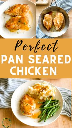 This easy chicken breasts recipe is an easy, low carb, Keto-friendly dinner, and it comes together super fast! Golden, juicy chicken breast cooked right on the stove without marinating or brining, with simple pantry ingredients for a deliciously tender and flavorful meal. Easy Baking Recipes, Easy Dinner Recipes, Real Food Recipes, Chicken Recipes, Easy Meals, Chicken Breast Gravy Recipe, Pan Seared Chicken, Cafe Food, 30 Minute Meals