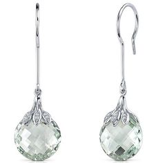 Double Sided Checkerboard Cut 12.00 Carats Green Amethyst Dangle Earrings in Sterling Silver Rhodium Finish Peora. $84.99