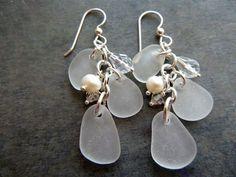 Sea Glass Earrings  Chandelier  Wedding Beach by TheMysticMermaid