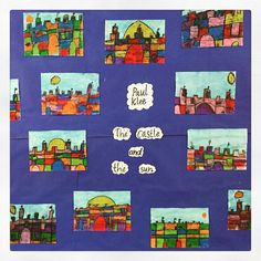 Artwork inspire by Paul Klee's The Sun and the Castle. Paul Klee, Easy Arts And Crafts, Art Classroom, Simple Art, Castle, Kids Rugs, Inspire, Sun, Artwork