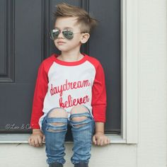This little sweetie proving our Daydream Believer raglan is not just for girls #Etsy #Handmade #LivAndCo