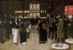 Jean-Georges Béraud - The Boulevard at Night, in Front of the Theatre des Varietes