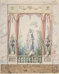 Design for an Interior with a Window into a Garden Anonymous, Italian, early 19th century