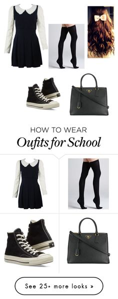 """""""School Girl"""" by beckybedford on Polyvore featuring Converse, Commando and Prada"""