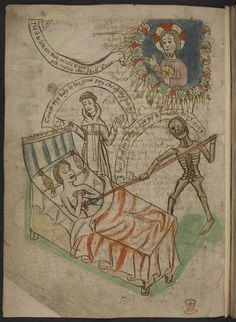 A man on his deathbed attended by a monk and a figure of death, who is saying 'I have sought the (=thee) many a day, for to have the (=thee) to my pray(=prey)'. Christ on high offers absolution (London, British Library, MS Additional 37049, f. 38v).