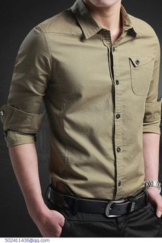Men's Clothing, Shirts, Casual Button-Down Shirts,RubySports Men's Military Casual Cotton Long Sleeve Button Down Slim Fit Dress Shirts - Khaki - # # Mens Dress Outfits, Formal Men Outfit, Stylish Mens Outfits, Long Sleeve Cotton Dress, Long Sleeve Shirt Dress, Long Sleeve Shirts Men, Shirt Sleeves, Slim Fit Dress Shirts, Fitted Dress Shirts