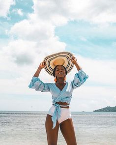sophisticated summer style // this wrap top pairs perfectly with white swimsuit bottoms and a big floppy hat Vacation Style, Vacation Outfits, Summer Outfits, Beach Outfits, Summer Clothes, Black Girl Magic, Black Girls, Black Women, Summer Vibes