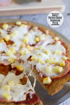 Sweet Potato Crust Hawaiian Pizza on Taste and Tell