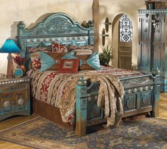 turquoise bedroom furniture. Beautiful Rustic Setting, Love The Turquoise! Las Cruces Furniture Can Be  Found @ Crowsnesttrading Turquoise Bedroom I