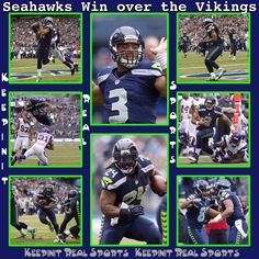 Keepinit Real NFL Stats: Vikings - vs - Seahawks  Vikings 20 (5-4, 1-3 away) Seahawks 30 (5-4, 4-0 home) FINAL  Top Performers Passing: R. Wilson (SEA) - 173 YDS, 3 TD Rushing: A. Peterson (MIN) - 17 CAR, 182 YDS, 2 TD Receiving: S. Rice (SEA) - 4 REC, 54 YDS, 1 TD