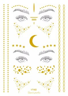 Rocooart Gold Face Tattoo Freckles Make Up Fake Tattoo Eye Flash Taty Body Art Waterproof Temporary Tattoo Stickers Party Tattoo South African Shop, Tattooed Freckles, Party Tattoos, Metal Tattoo, Gold Face, Fake Tattoos, Temporary Tattoo, Different Styles, Body Art