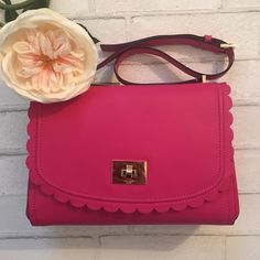 "{Kate Spade } Pink Scalloped Shoulder Bag ✨Kate Spade Pink Scalloped Shoulder Bag✨ Measurements: W 11 1/2 x H 8"" Drop can be adjusted from 12-14 ✨Please note wallet is just to show matching set  But can Absolutely be Bundled ✨ kate spade Bags Shoulder Bags"